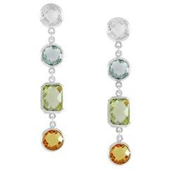 Code by Edge Aquafiore Earrings Coloured Rose Cut Gemstones Morse Code Letter G