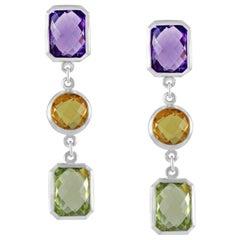 Code by Edge Aquafiore Earrings Coloured Rose Cut Gemstones Morse Code Letter K