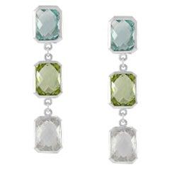 Code by Edge Aquafiore Earrings Coloured Rose Cut Gemstones Morse Code Letter O