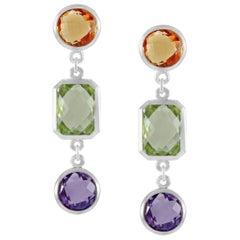 Code by Edge Aquafiore Earrings Coloured Rose Cut Gemstones Morse Code Letter R