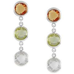 Code by Edge Aquafiore Earrings Coloured Rose Cut Gemstones Morse Code Letter S