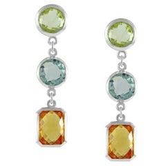 Code by Edge Aquafiore Earrings Coloured Rose Cut Gemstones Morse Code Letter U