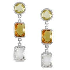Code by Edge Aquafiore Earrings Coloured Rose Cut Gemstones Morse Code Letter W