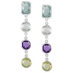 Code by Edge Aquafiore Earrings Coloured Rose Cut Gemstones Morse Code Letter B