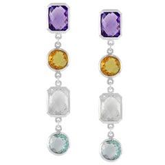 Code by Edge Aquafiore Earrings Coloured Rose Cut Gemstones Morse Code Letter C