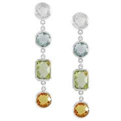 Code by Edge Aquafiore Earrings Coloured Rose Cut Gemstones Morse Code Letter F
