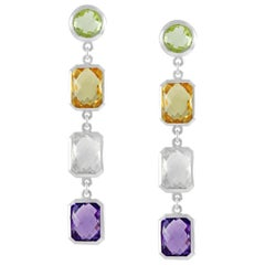Code by Edge Aquafiore Earrings Coloured Rose Cut Gemstones Morse Code Letter J