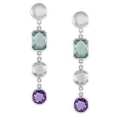Code by Edge Aquafiore Earrings Coloured Rose Cut Gemstones Morse Code Letter L