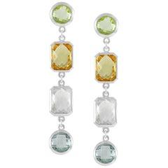 Code by Edge Aquafiore Earrings Colored Rose Cut Gemstones Morse Code Letter P