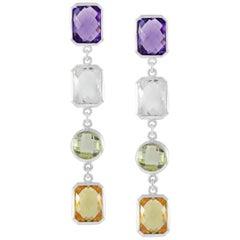 Code by Edge Aquafiore Earrings Colored Rose Cut Gemstones Morse Code Letter Q