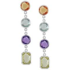 Code by Edge Aquafiore Earrings Colored Rose Cut Gemstones Morse Code Letter V