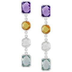 Code By Edge Aquafiore Earrings Colored Rose Cut Gemstones Morse Code Letter X