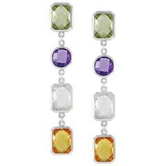 Code by Edge Aquafiore Earrings Colored Rose Cut Gemstones Morse Code Letter Y