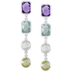 Code by Edge Aquafiore Earrings Colored Rose Cut Gemstones Morse Code Letter Z