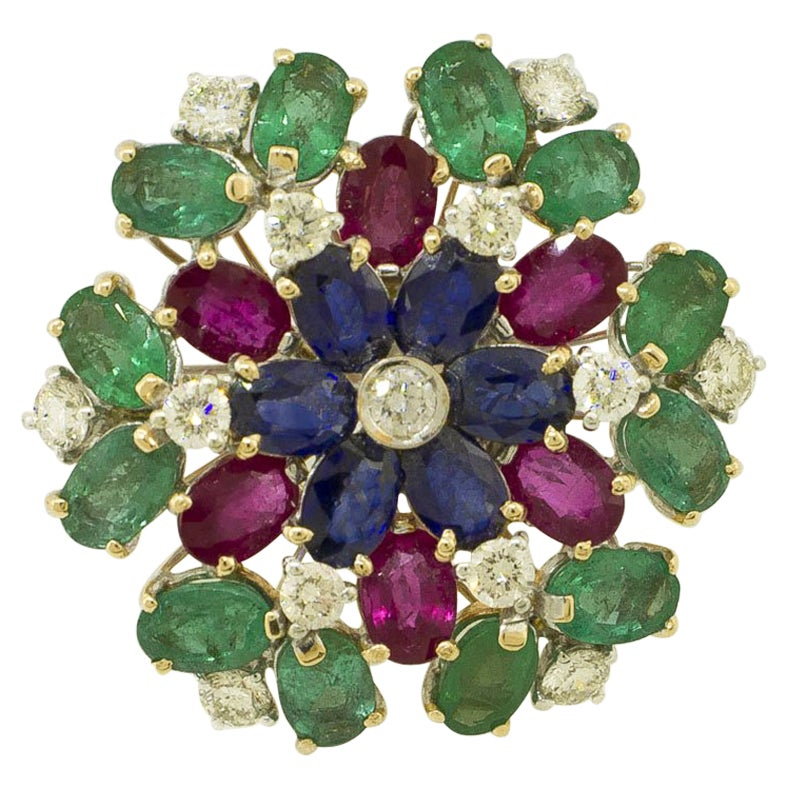 White Diamonds Rubies Emeralds Blue Sapphires White and Yellow Gold Flower Ring