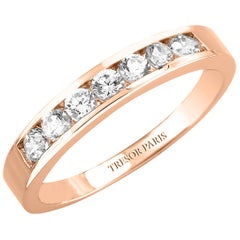 0.50 Carat Round Diamond Channel Set 18 KT Rose Gold Half Eternity Band Ring