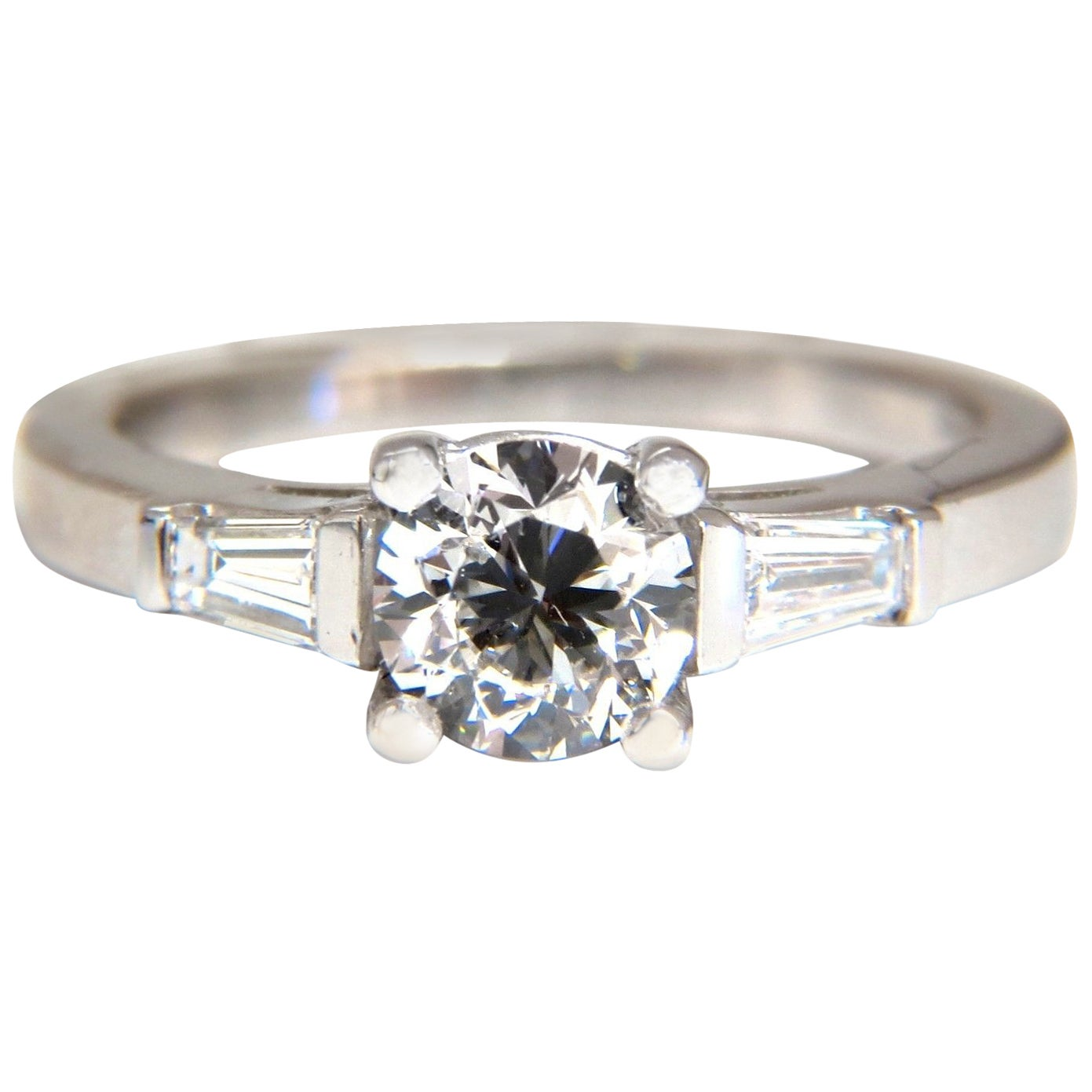 GIA Certified .90 Carat and .36 Carat Round Diamond Engagement Ring Platinum
