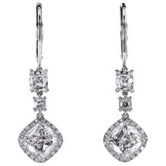 Platinum Drop Earrings with Antique Cushion Diamonds and Micro Pave by Leon Mege