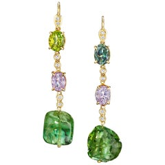 Joon Han Tourmaline Nuggets Spinel Diamond 18K Gold Drop Dangle Earrings