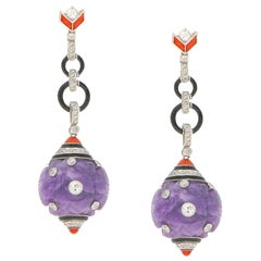French Art Deco Amethyst, Diamond, Coral, Enamel Drop Cocktail Drop Earrings
