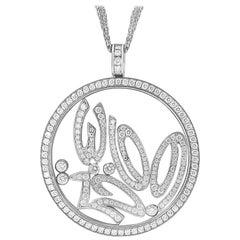 Chopard Happy Spirit 18 Karat White Gold Diamond Pendant Necklace Large, Estate