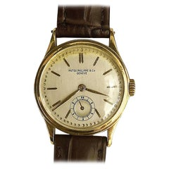 Retro Sub-Dial Patek Philippe & Co Hand-Winding 18 Karat Gold Vintage Watch