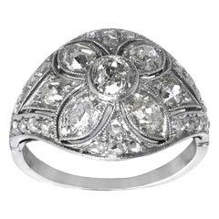 Art Deco Period Diamond Ring circa 1930 Set in Platinum and 18 Carat White Gold