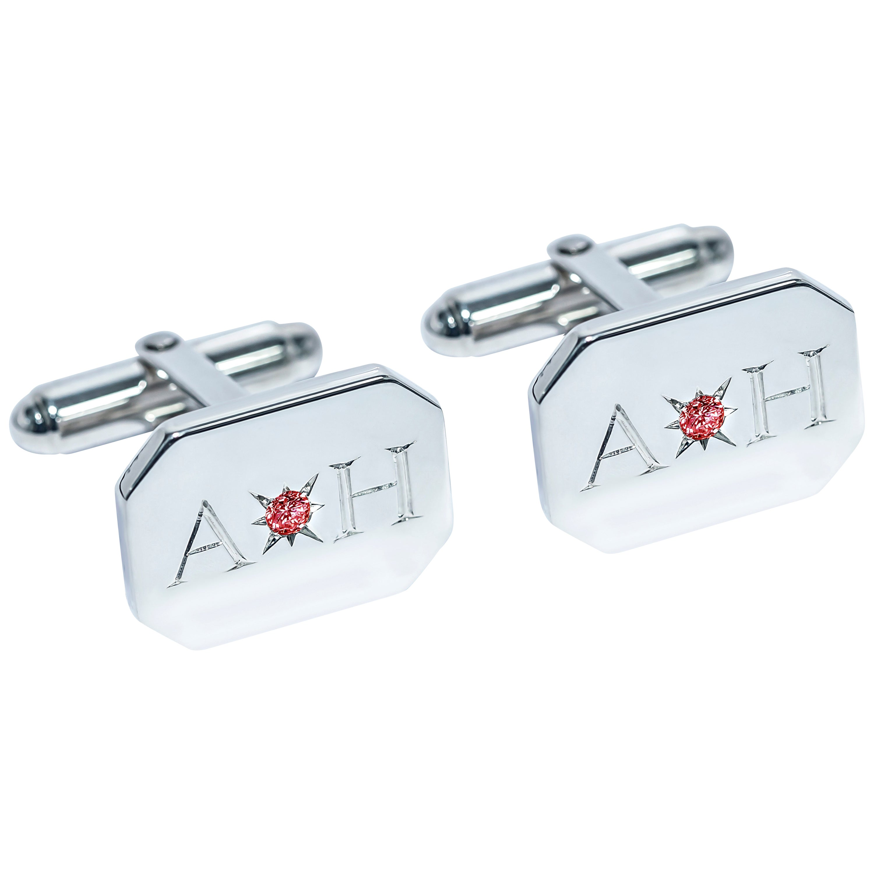 Ruby Bespoke Sterling Silver Rectangular Engraved Modern Classic Cufflinks