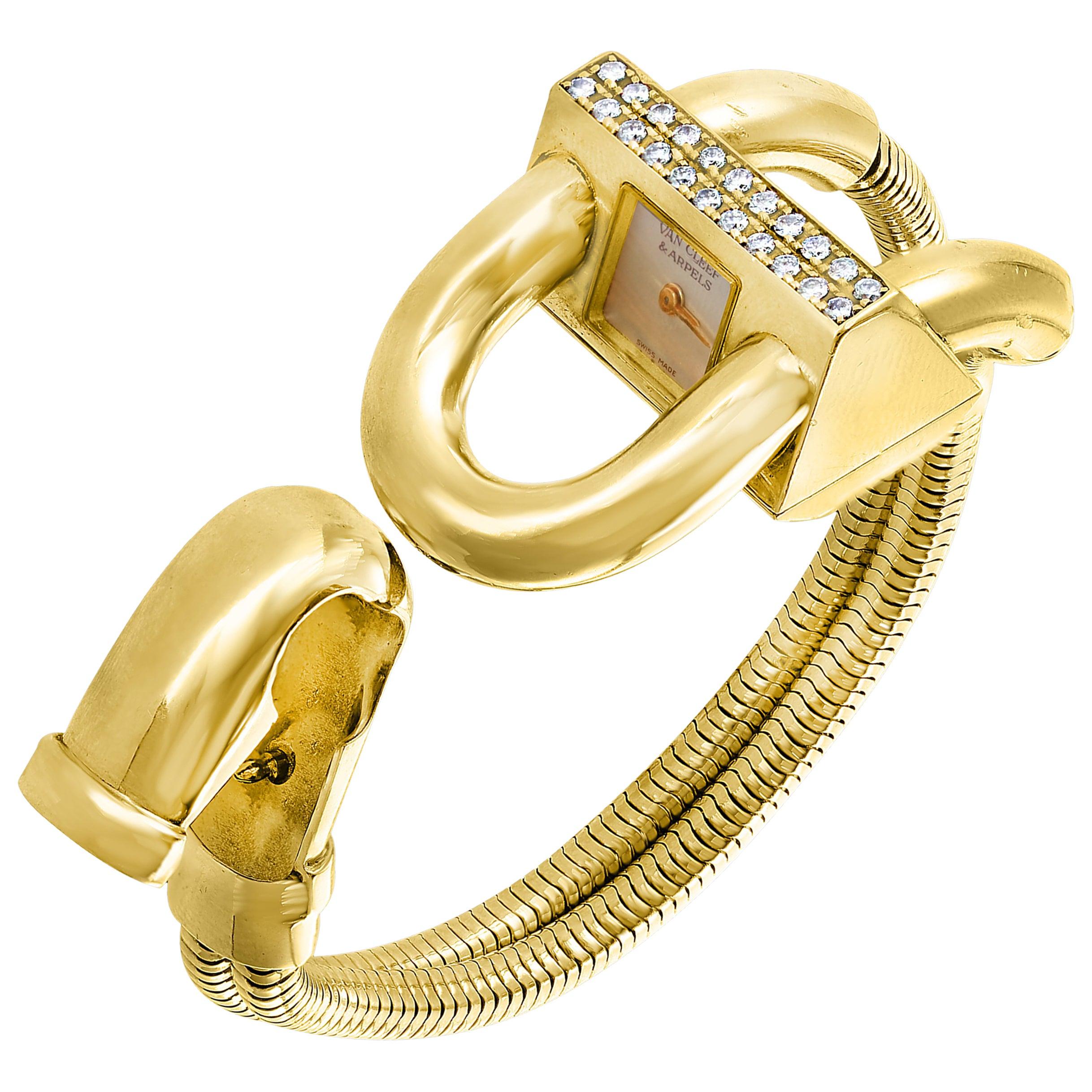 Van Cleef & Arpels Yellow Gold Diamond Cadenas Bracelet Wristwatch, Estate