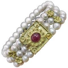 Pearls Yellow 18 Karat Gold Cabochon Ruby Retro Bracelet Rome, Italy, 1970s