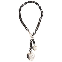 Gutta Percha and Sterling Silver Charm Heart Necklace