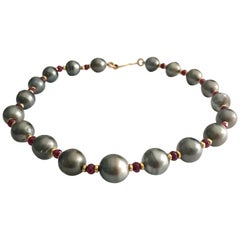 Tahitian South Sea Pearl Necklace With Rubies and 18k Gold Clasp and Spacers