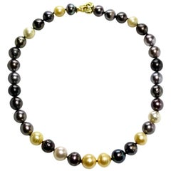 Tahitian, Golden and White South Sea Pearl Necklace With An 18k Gold Heart Clasp
