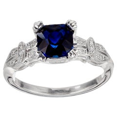 Peter Suchy GIA Certified 1.37 Carat Sapphire Diamond Platinum Engagement Ring