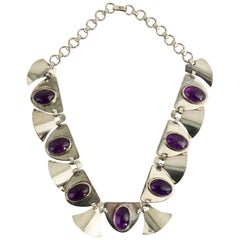 Fred Davis Silver and Amethyst Necklace