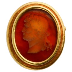 Elizabeth Locke Gold Brooch with Man in Profile