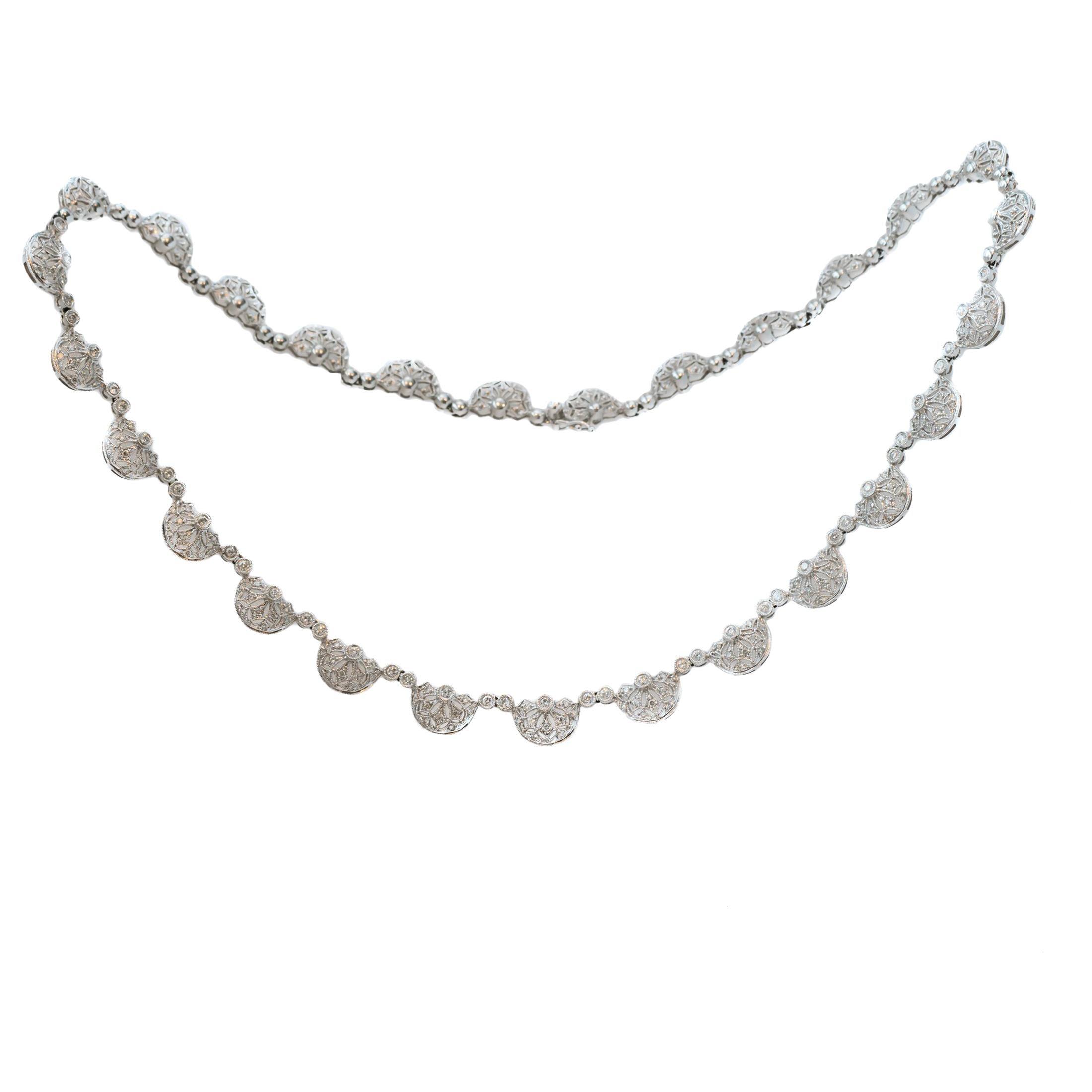 3 Carat Diamond and 18 Karat White Gold Princess Necklace