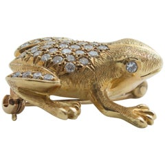 Diamond Gold Frog Pin Brooch