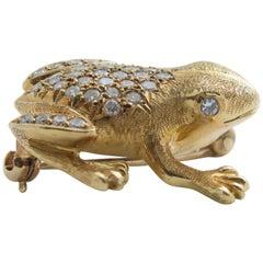 Gold Frosch Brosche mit Diamanten