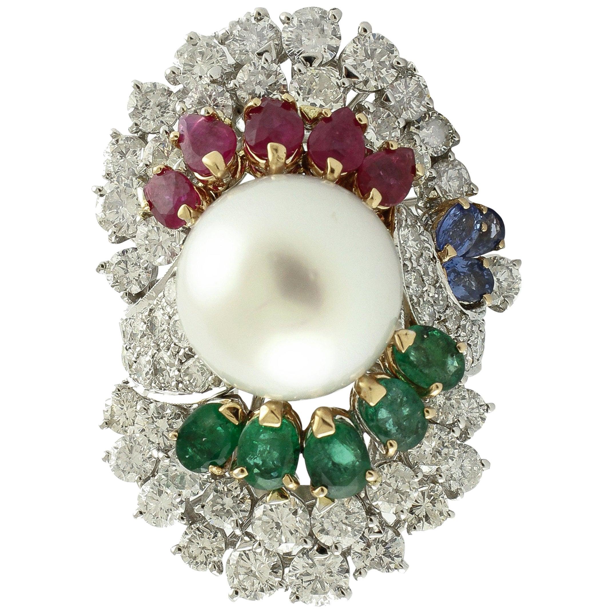 Diamonds Sapphires Rubies Emeralds Pearl White Gold Ring
