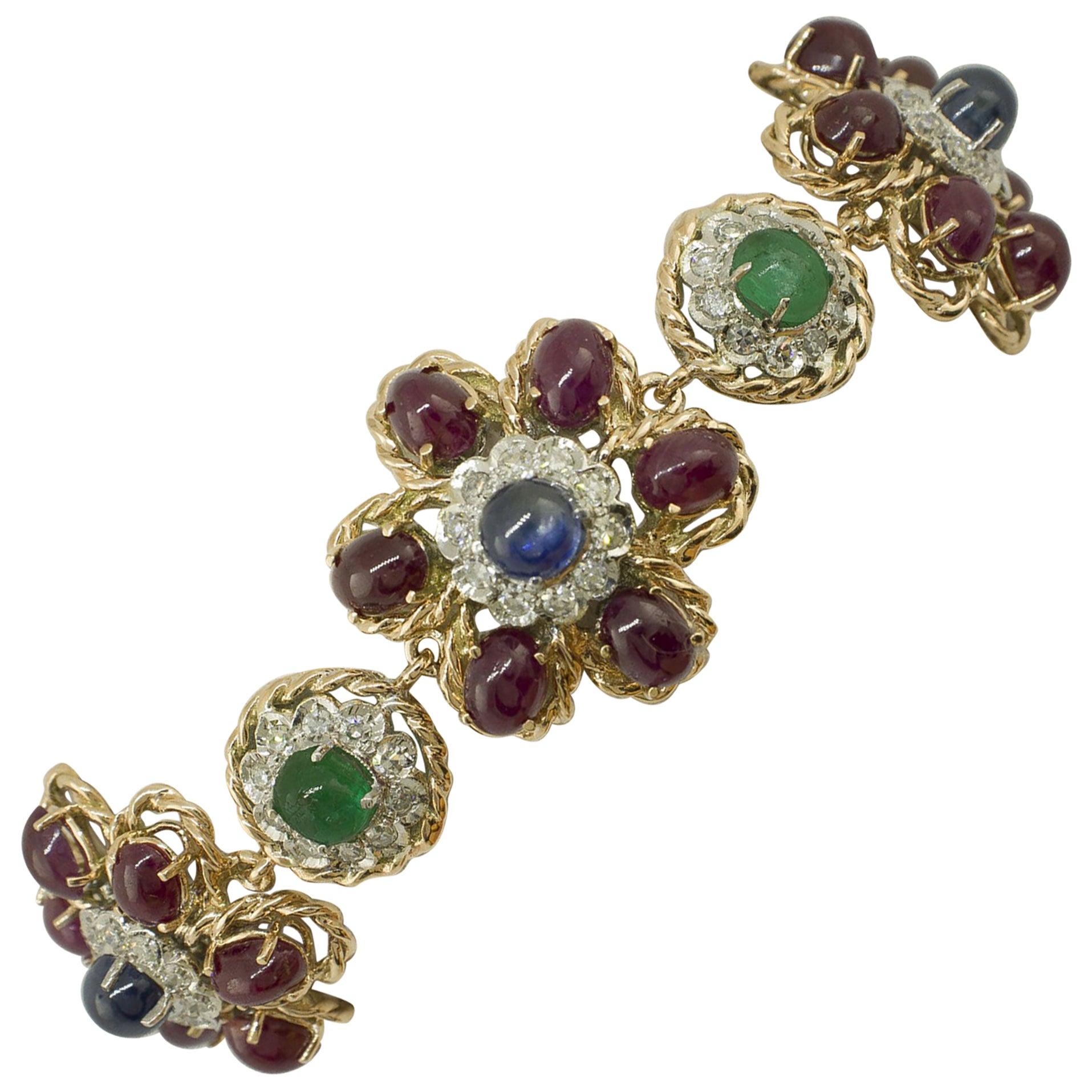 White Diamonds Rubies Emeralds Blue Sapphires Rose and White Gold Link Bracelet