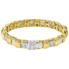 Roberto Coin Appassionata Three-Row Diamond Bracelet in 18 Karat Yellow Gold