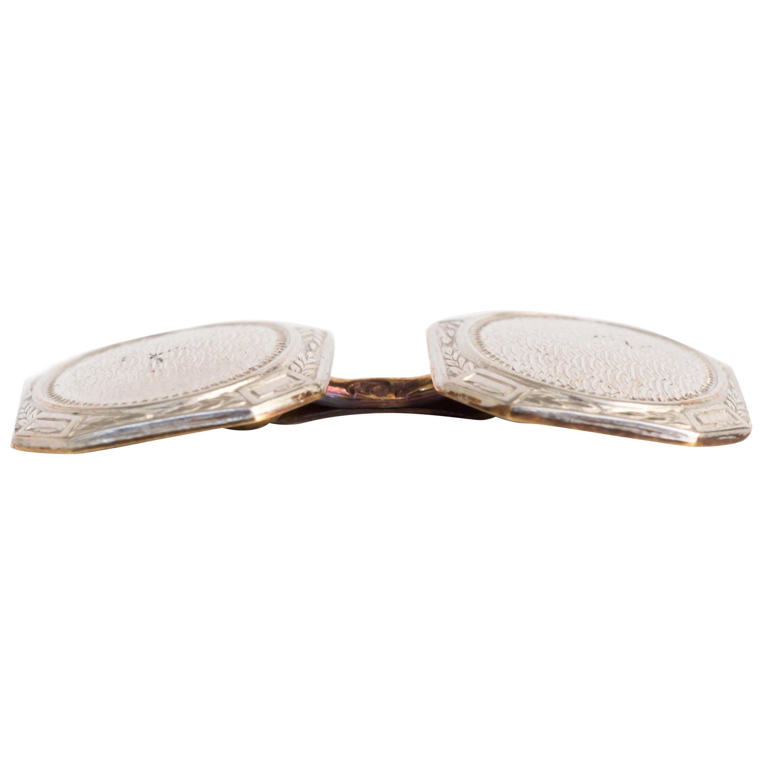 Yellow Gold and Platinum Cufflinks
