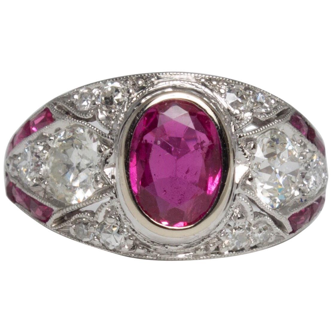 Art Deco Ruby and Diamond Platinum Milgrain Engagement Ring