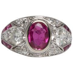 Art Deco Platinum Natural Ruby Diamond Milgraine Ring