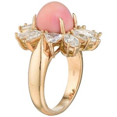 GIA Certified Natural Conch Pearl Diamond Rose Gold Ring