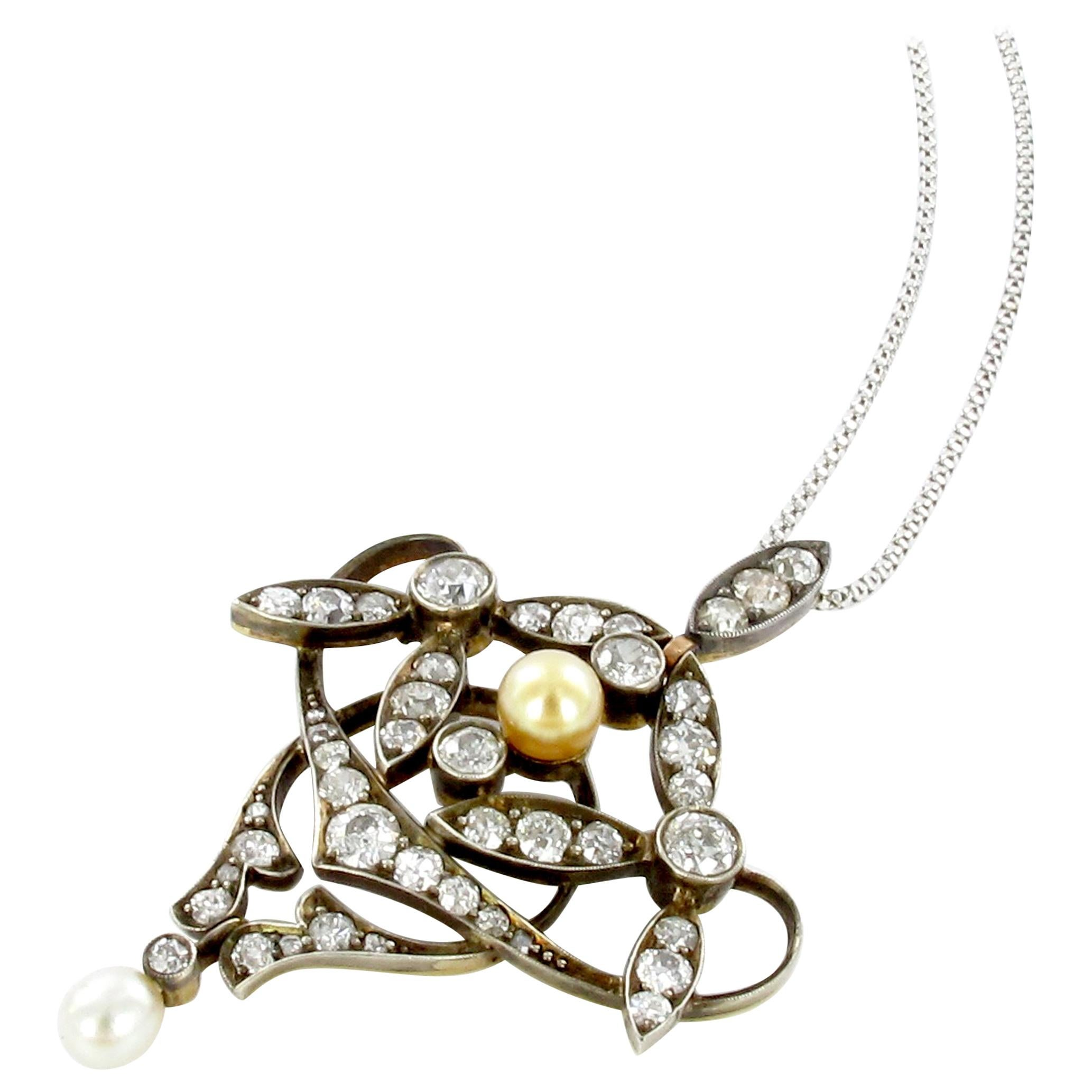 Antique Diamond and Natural Pearl Pendant Silver on Gold
