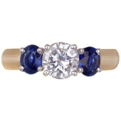 Peter Suchy 1.66 Carat Diamond Sapphire 14 Karat Yellow Gold Three-Stone Ring