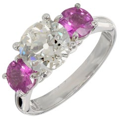 Peter Suchy GIA Certified 3.52 Carat Diamond Pink Sapphire Platinum Ring