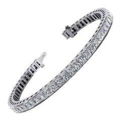 4.70 Carat Total Channel Set Princess Cut Diamond Tennis Bracelet in Platinum